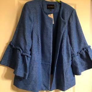 NWT Eloquii blue tweed jacket w/ bell 3/4 sleeves